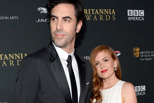 BEVERLY HILLS, CA - NOVEMBER 09: Actor Sacha Baron Cohen and actress Isla Fisher with Stylebop.com attend the 2013 BAFTA LA Jaguar Britannia Awards presented by BBC America at The Beverly Hilton Hotel on November 9, 2013 in Beverly Hills, California. (Photo by Michael Kovac/Getty Images for BAFTA LA)